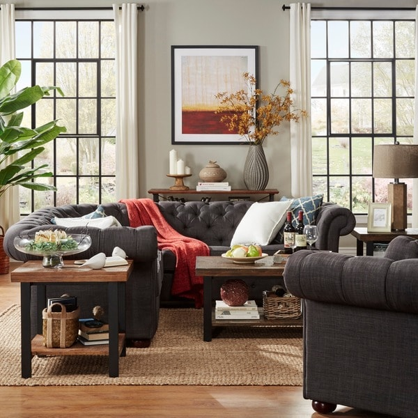 tribecca home tufted scroll arm 5seat lshaped sectional