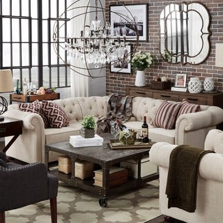 TRIBECCA HOME Knightsbridge Tufted Scroll Arm Chesterfield 5 Seat L Shaped  Sectional