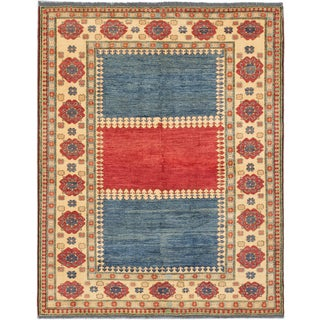 ecarpetgallery Finest Gazni Blue/ Red Wool Rug (7' x 8')