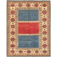 ecarpetgallery Finest Gazni Blue/ Red Wool Rug - 7' x 8'