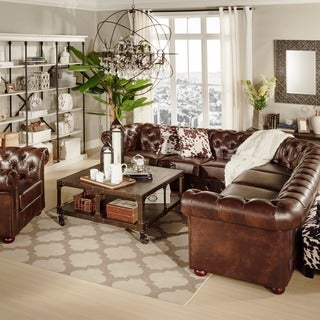 Knightsbridge Tufted Scroll Arm Chesterfield 7-seat L-shaped Sectional by iNSPIRE Q Artisan