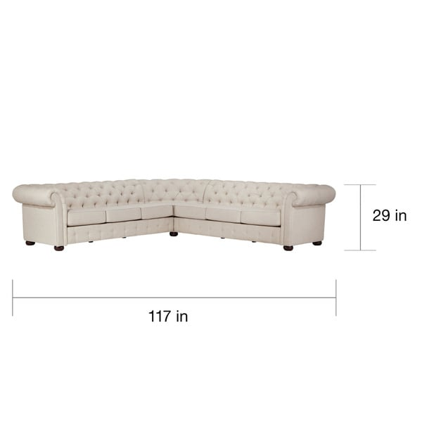Knightsbridge Tufted Scroll Arm Chesterfield 7-seat L-shaped Sectional by iNSPIRE Q Artisan - Free Shipping Today - Overstock.com - 17755614  sc 1 st  Overstock.com : l sectional - Sectionals, Sofas & Couches