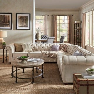 Knightsbridge Tufted Scroll Arm Chesterfield 7-seat L-shaped Sectional by iNSPIRE Q Artisan (5 options available)