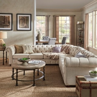 Captivating Knightsbridge Tufted Scroll Arm Chesterfield 7 Seat L Shaped Sectional By  INSPIRE Q Artisan