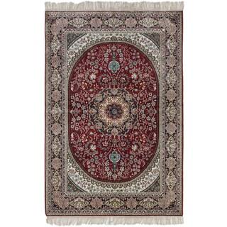 ecarpetgallery Silk 300L Red Art Silk Rug (4' x 6')