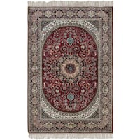 ecarpetgallery Silk 300L Red Art Silk Rug (4' x 6') - 4' x 6'