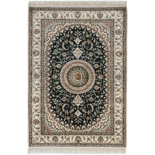 ecarpetgallery 300L Silk Green Art Silk Rug (4' x 6')