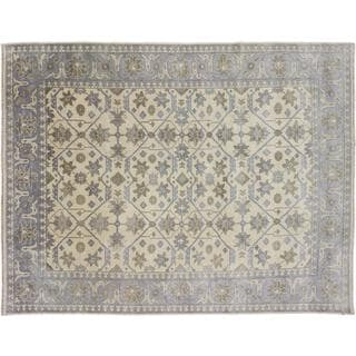 Oushak Askhat Beige Hand-Knotted Rug (8'10 x 11'9)