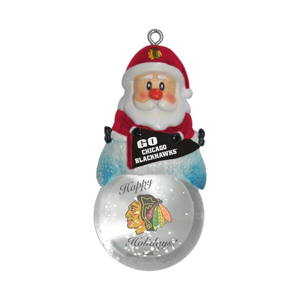 Chicago Blackhawks Santa Snow Globe Ornament