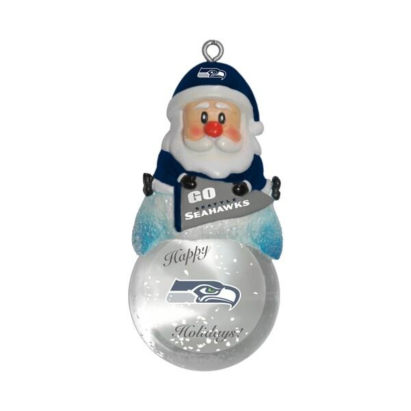 Seattle Seahawks Santa Snow Globe Ornament