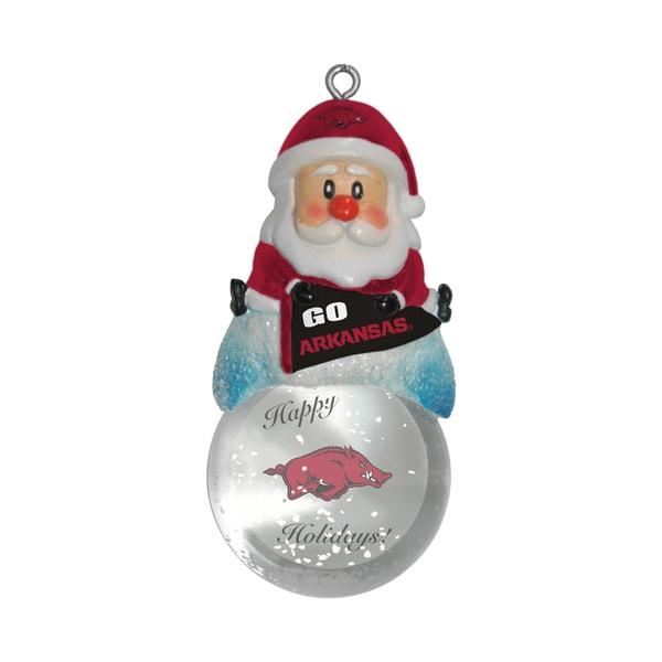 Arkansas Razorbacks Santa Snow Globe Ornament