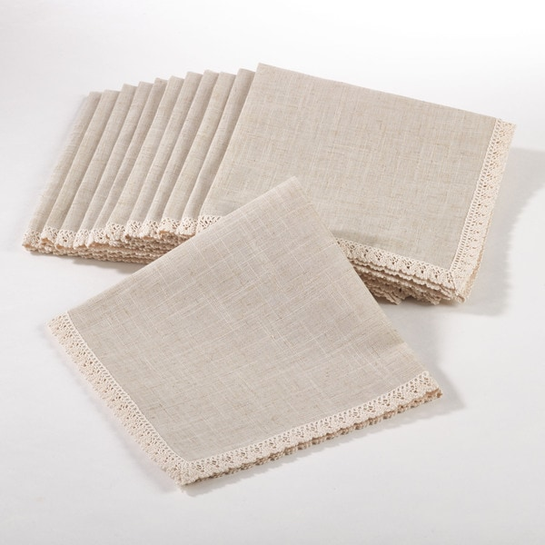 Dinner Napkin with Lace Border (Set of 12)