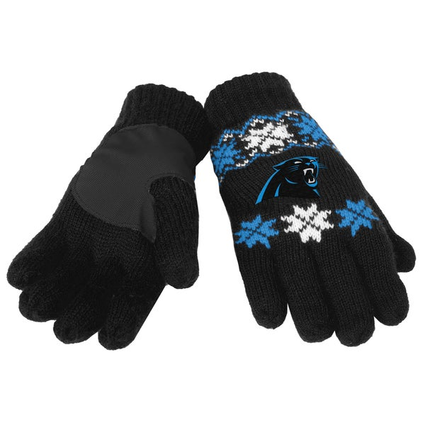 Forever Collectibles NFL Carolina Panthers Lodge Gloves with Padded Palms