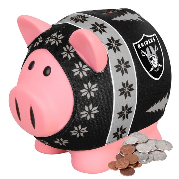 Forever Collectibles NFL Oakland Raiders Ugly Sweater Piggy Bank