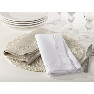 Crochet Lace Trimmed Dinner Napkin (Set of 12)
