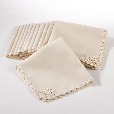 Crochet Lace Trimmed Dinner Napkin (Set of 12)