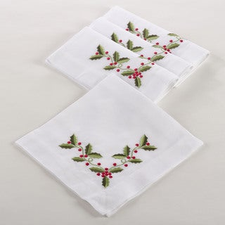Holly Embroidered Napkin (Set of 4)