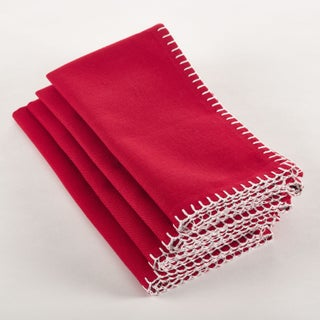 Whip Stitched Design Napkin (Set of 4) (Option: Red - Casual/Traditional/Classic)