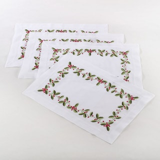 Holly Embroidered Linen Blend Placement (Set of 4)