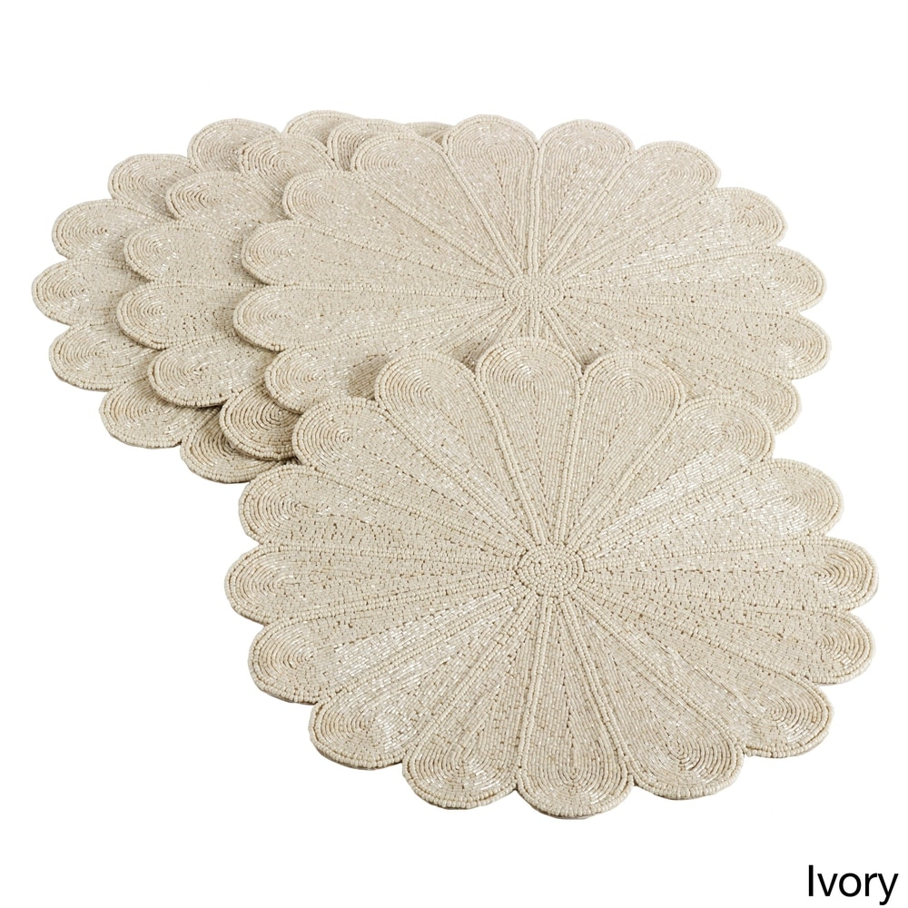 Shop Flower Design Beaded Placemat (Set of 4) - 10693999
