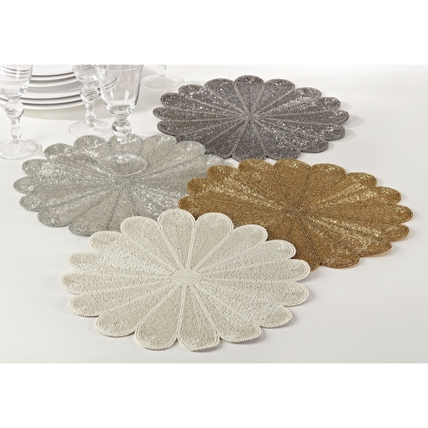 Flower Design Beaded Placemat (Set of 4)