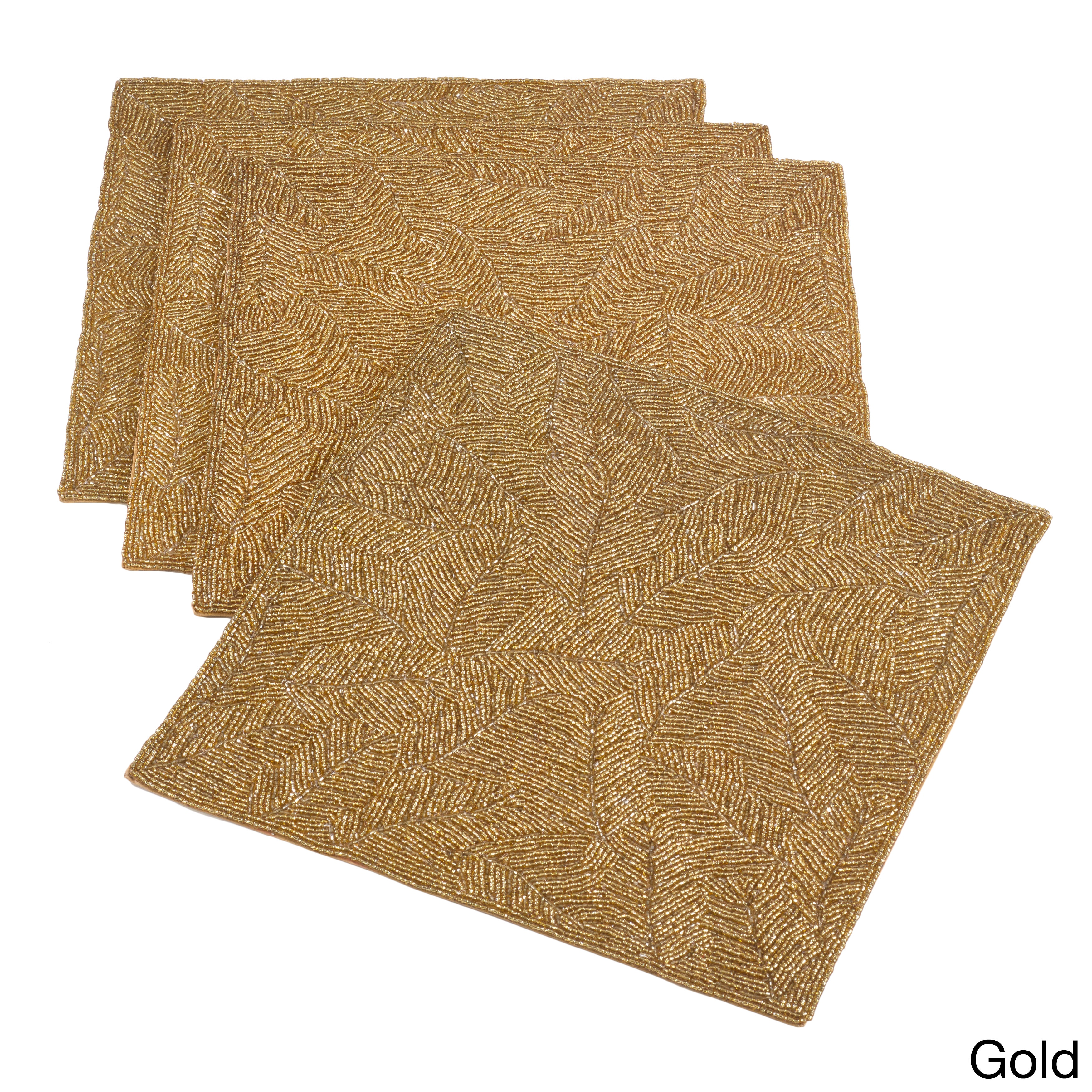 Saro Beaded Design Placemat (Set of 4) (Gold) (Lead Crystal)