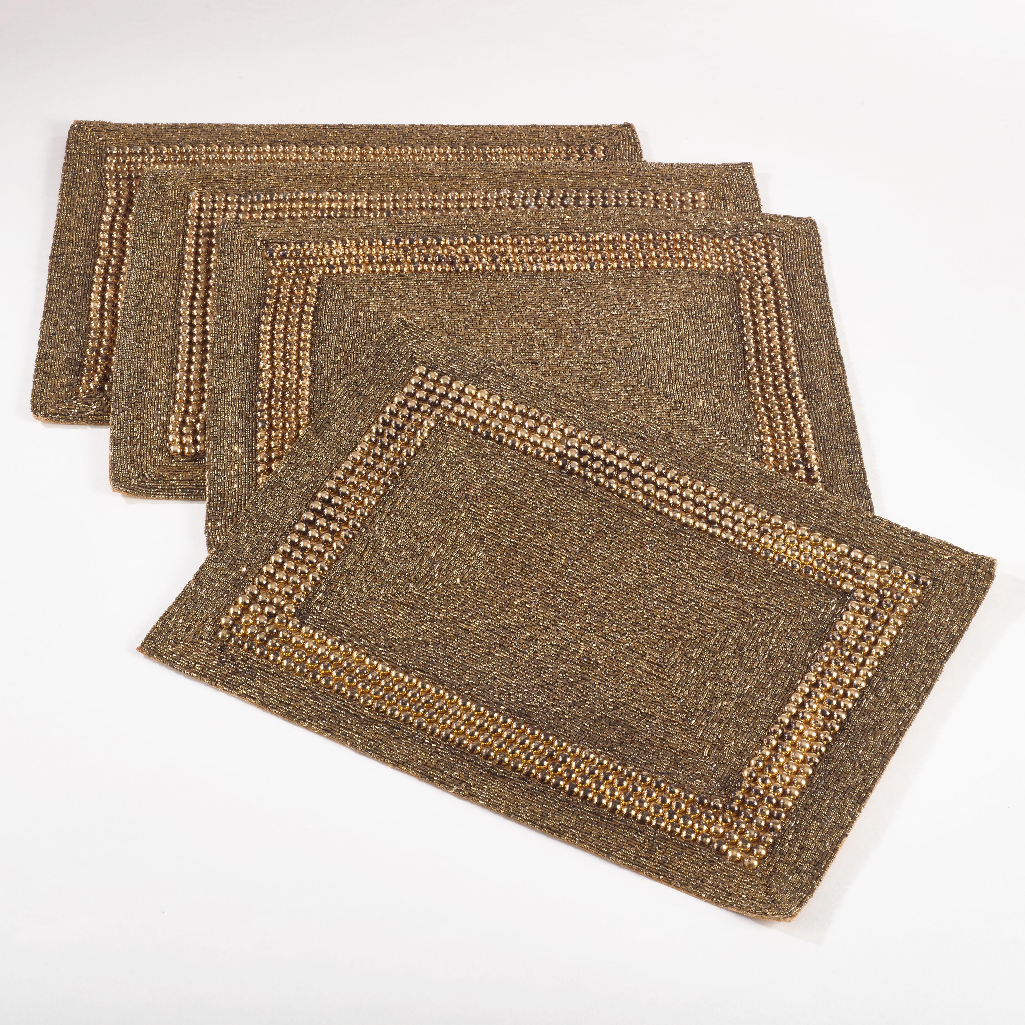 Saro Beaded Design Placemat (Set of 4) (Bronze), Gold (Le...