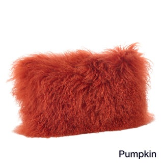 Mongolian Lamb Fur Lumbar Throw Pillow (Option: Pumpkin)