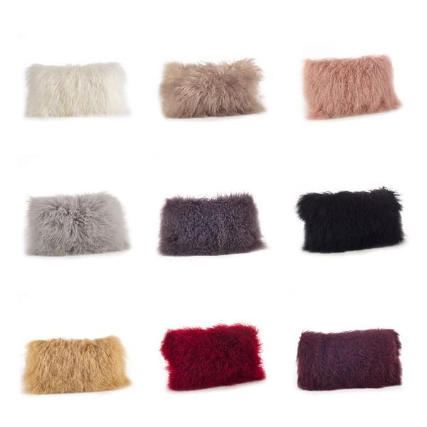Mongolian Lamb Fur Lumbar Throw Pillow Free Shipping