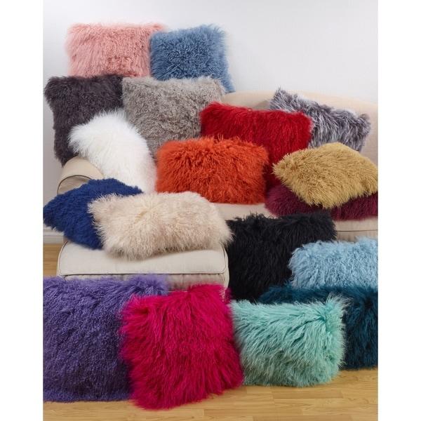 Wool Mongolian Lamb Fur 12 x 20 Throw Pillow
