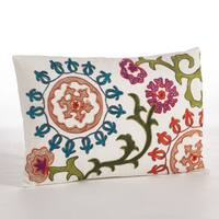 Embroidered Floral Medallions Design Throw Pillow