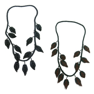 Hand-beaded 13 Leaves Long Endless Necklace (Guatemala)