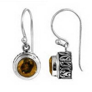Handcrafted Sterling Silver Bali Faceted Round Shape Citrine Earrings (Indonesia)