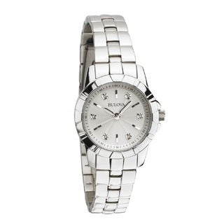 Bulova Women's 96P121 Stainless Steel and Silver Tone Engraved Dial with 6 Diamond Hour Markers Bracelet Watch