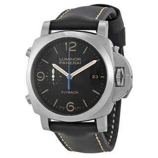 Panerai Men's PAM00524 'Luminor 1950 Flyback' 3 Days Black Leather Watch