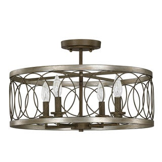 Austin Allen & Company Madeline Collection 4-light Brushed Silver W/Bronze Semi Flush