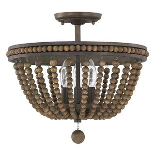 Handley Collection 3-light Tobacco Semi Flush Mount