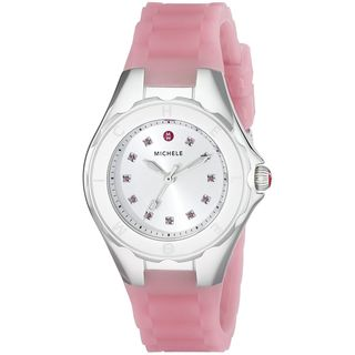 Michele Women's MWW12P000008 'Tahitian Jelly Bean' Topaz Stones Pink Silicone Watch