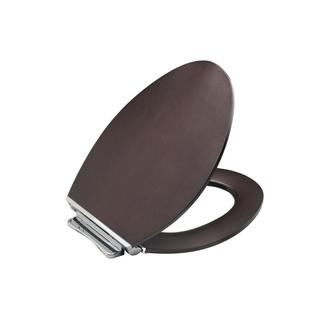 Kohler Avantis Quiet-Close Elongated Toilet Seat with Quick-Release Polished Chrome metal Hinge in Dark Antique Walnut