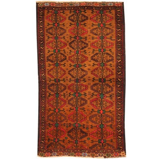 Herat Oriental Afghan Hand-knotted Tribal Balouchi Wool Rug (2'6 x 4'3)