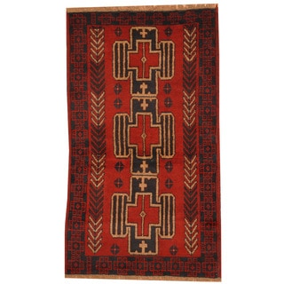Herat Oriental Afghan Hand-knotted Tribal Balouchi Wool Rug (2'8 x 4'9)
