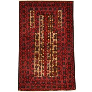 Herat Oriental Afghan Hand-knotted Tribal Balouchi Wool Rug (2'7 x 4'4)