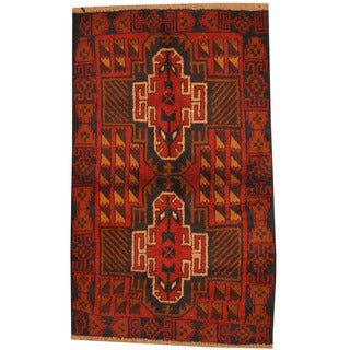 Herat Oriental Afghan Hand-knotted Tribal Balouchi Wool Rug (2'10 x 4'10)