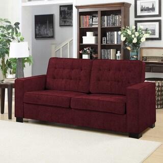 Handy Living Adaira Berry Red Chenille SoFast Sofa