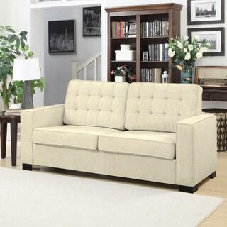 Handy Living Adaira Ivory Chenille SoFast Sofa