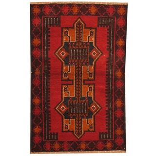Herat Oriental Afghan Hand-knotted Tribal Balouchi Wool Rug (2'9 x 4'3)