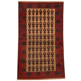 Herat Oriental Afghan Hand-knotted Tribal Balouchi Beige/ Red Wool Rug (2'8 x 4'6)