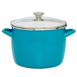 Sabatier 12QT Eos Stock Pot Teal With Glass Lid