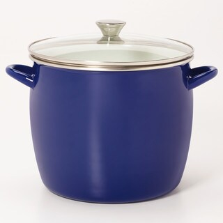 Sabatier 16QT Eos Stock Pot Blue With Glass Lid