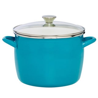 Sabatier 8QT Eos Stock Pot Teal With Glass Lid